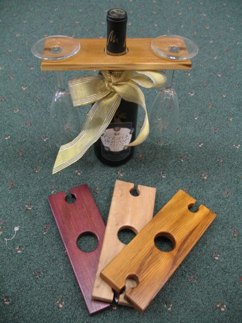 Handcrafted Wine Carry Tray - 1 Bottle 2 Glasses
