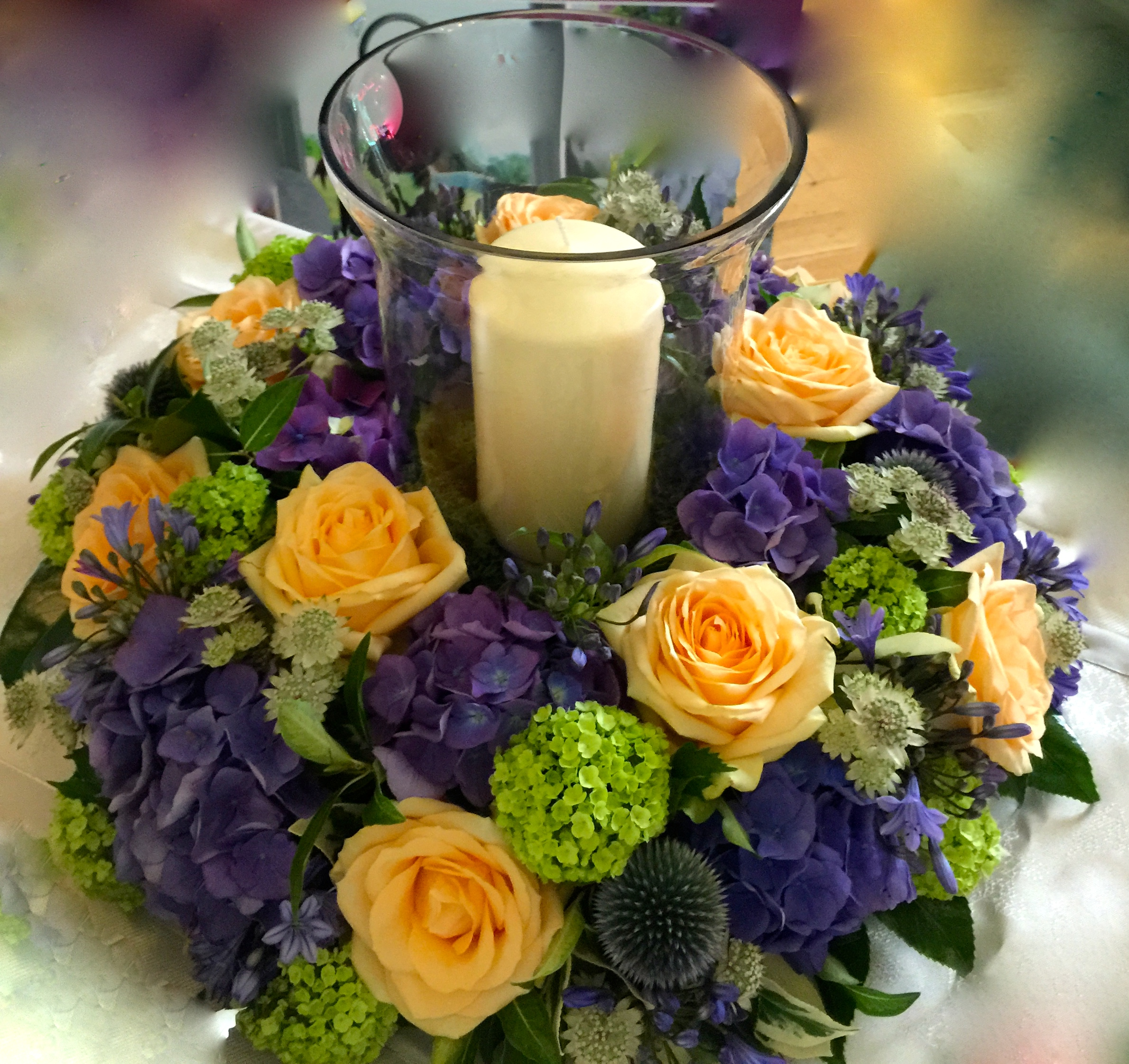 Hurricane Vase floral display