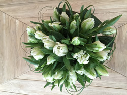 Handtied Tulips and bear grass loops