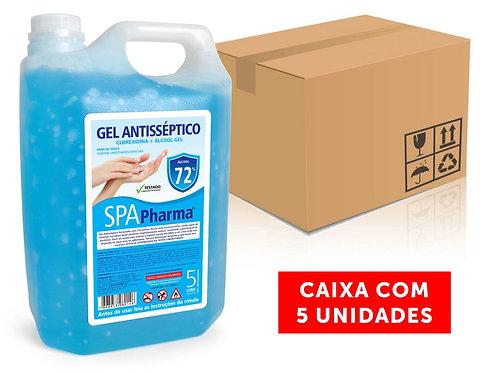 Gel Antisséptico com Clorexidina + Álcool 72% SPAPharma 5L - Caixa com 5 und