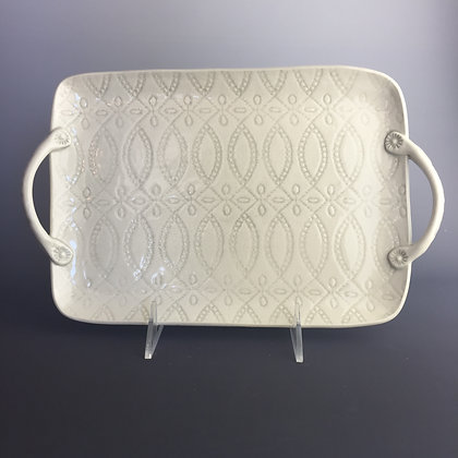 platter with handles; grey lace design