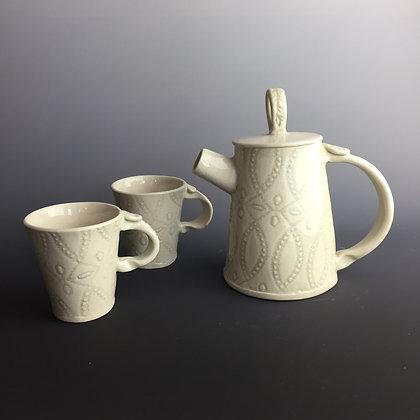 Mini Teapot w/ matching cups (grey lace design)