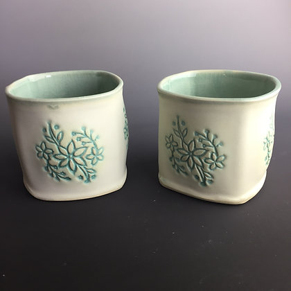 Handleless Cups; cream with green detail (2) priced each