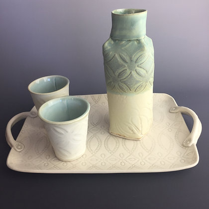 Sake set; includes two matching cups (Platter not Incl)