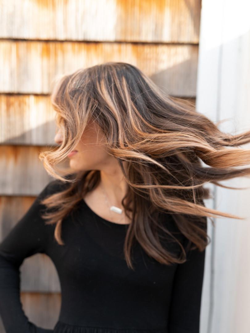 Wind blown hair!