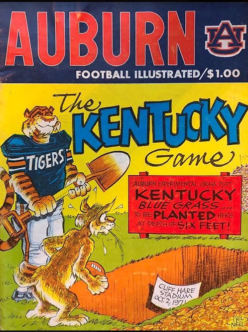 1971 Kentucky Wildcats vs Auburn Game Day Program - Oct. 2, 1971