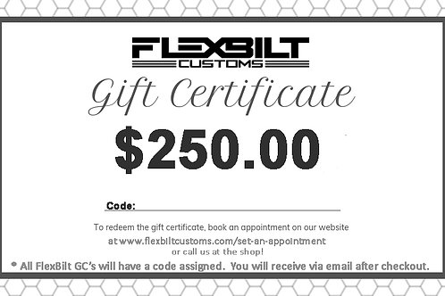 $250 flexbilt customs gift card