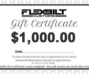 $1,000.00 FlexBilt Customs Gift Certificate