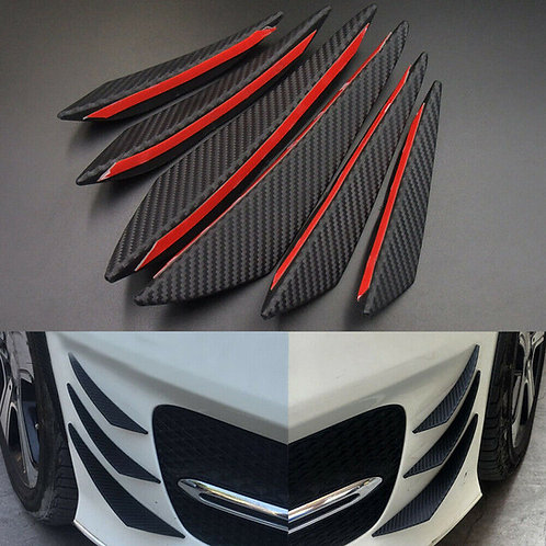 6 Piece Carbon Fiber Front Bumper Fin Spoiler Canard Set