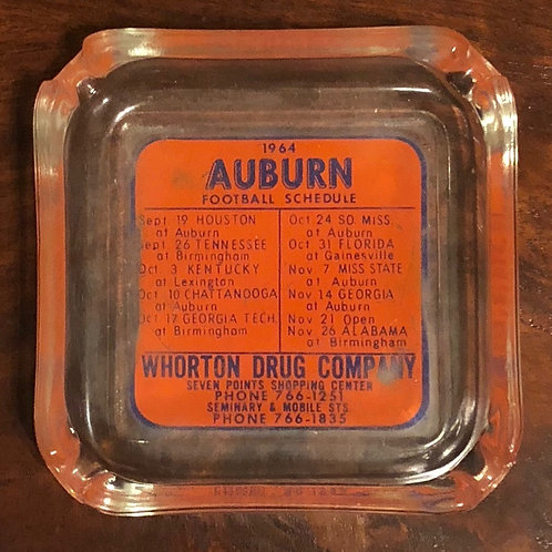 1964 Auburn Football Schedule Glass Ashtray