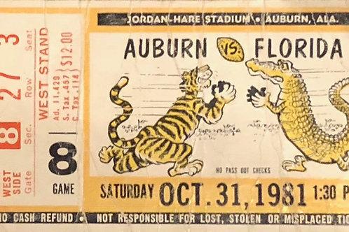 FRAMED 1981 Auburn vs. Florida Football Ticket (1)