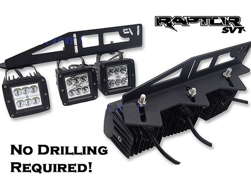 2017-2020 Ford Raptor 6x Fog LED Light Side Bumper Mount Brackets Wire Kit
