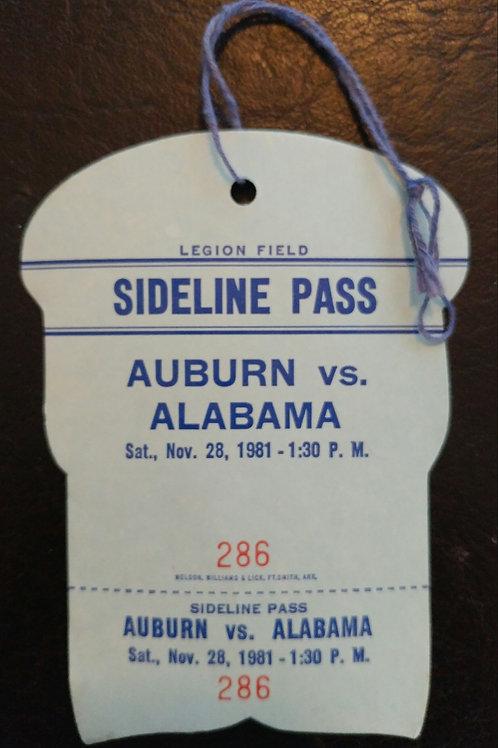 1981 Auburn vs Alabama Sideline Pass