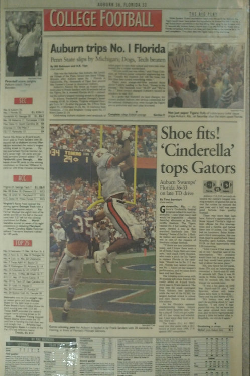 AJC Laminated Front Page from AU 36 vs UFL 33 game