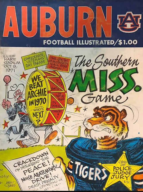 Southern Miss at Auburn Game Day Program - Oct.9, 1971