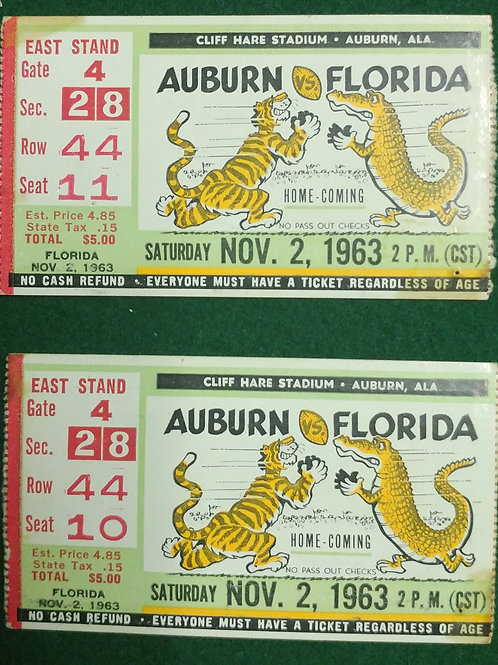 Nov 2, 1963 ORIGINAL AU vs FL tickets