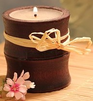 Bamboo Candle & Holder