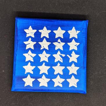 Blue & white stars on canvas