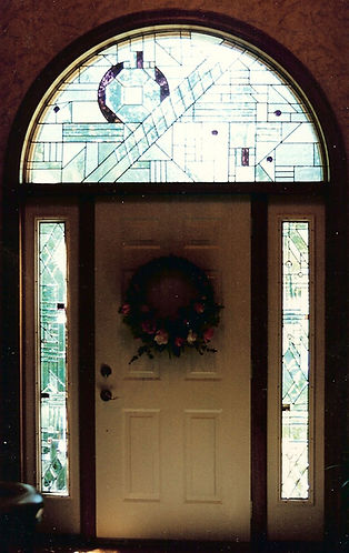 Abstract Arched transom and Sidelights