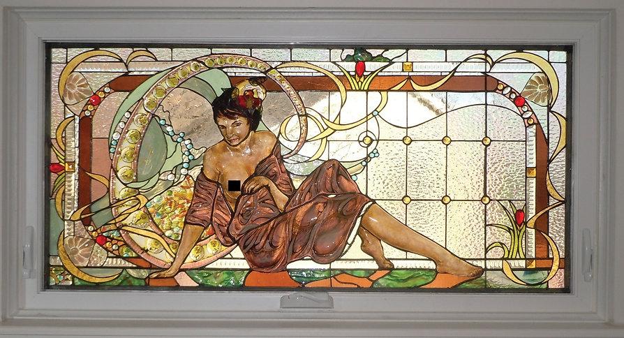 Art Nouveau Lady Bath Window