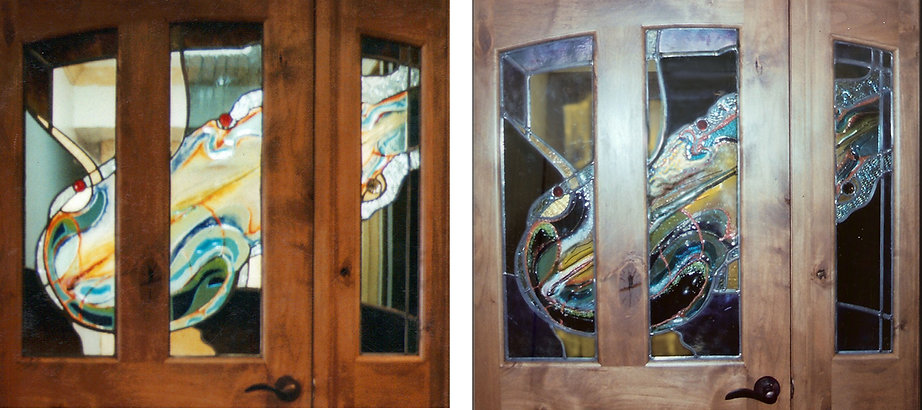 Fused_Leaded Glass Door and Sidelights