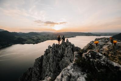 Bergshooting bei Sonnenuntergang in Gmunden