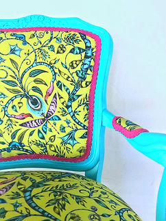 Turquoise and yellow chair