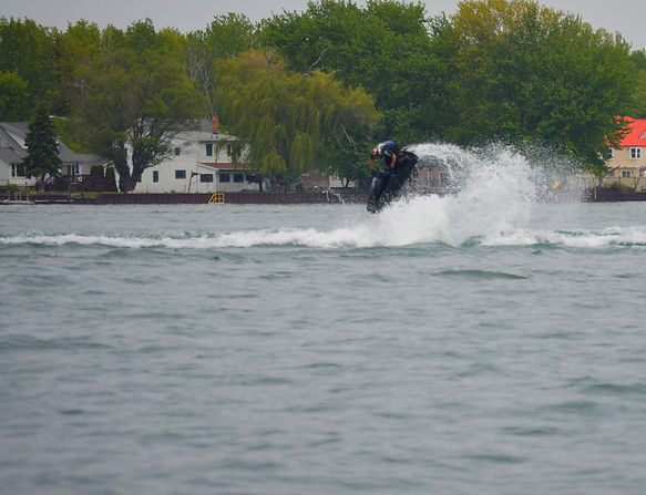 One of Crazy Joe's Customs customers riding his hybrid lay up BAM Hull