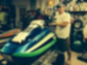 Crazy Joe's custom painted and manufactured fiberglass hull