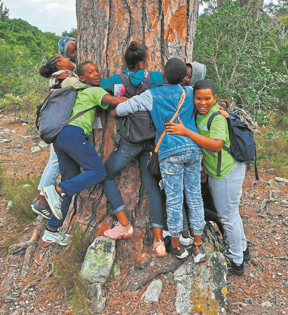 Leerders van Paternoster omhels een van die groot ou bome in die Kirstenbosch Botaniese Tuin.