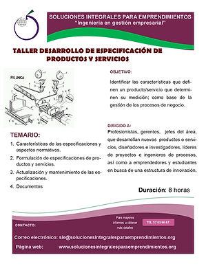 Taller desarrollo de especificación de productos y servicios
