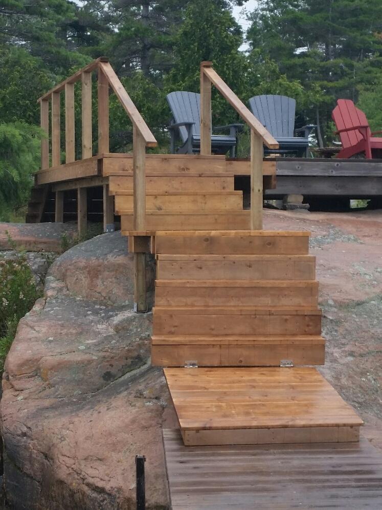 Island stairway on rock