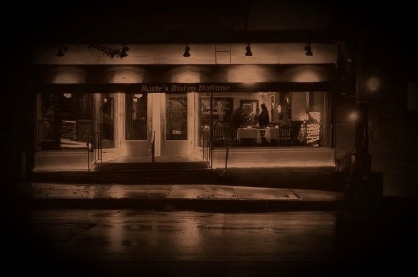 Rosie's Store Front at Night