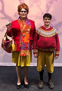 Augustus and Mrs Gloop in Willy Wonka Jr costume set rental