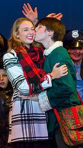 Buddy kisses Jovie - Elf Jr costume set rental