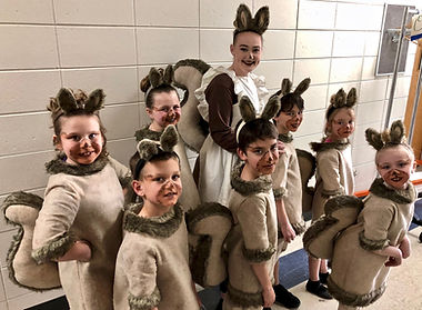 Squirrels in Willy Wonka Jr costume set rental