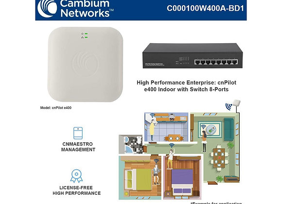 Cambium cnPilot E400 802.11ac Access Point +TEF1008P 8Port 10/100Mbps Switch Po