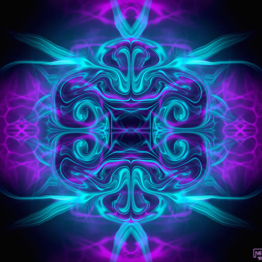 Turquoise - Purple. Waves of Time Wobble. (Abstract Energy Series.)
