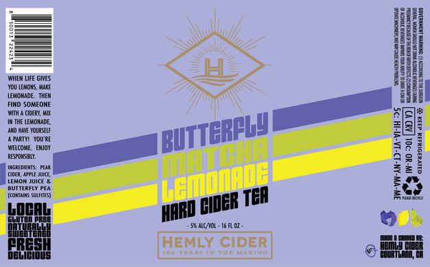 BUTTERFLY MATCHA LEMONADE 16oz Label