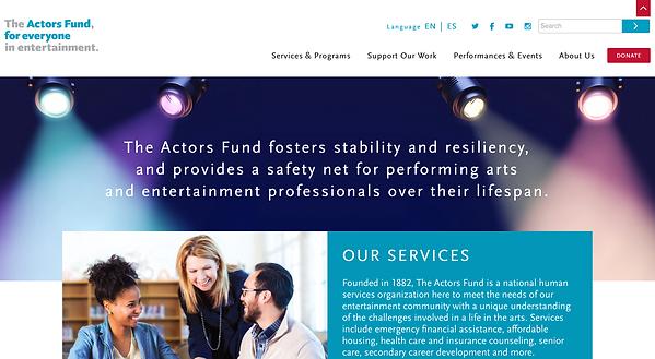 Screenshot of The Actors Fund homepage
