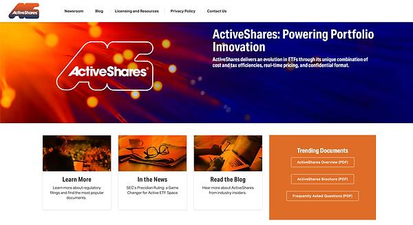 Screenshot of ActiveShares Homepage