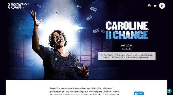 Screenshot of Roundabout Theatre Company homepage