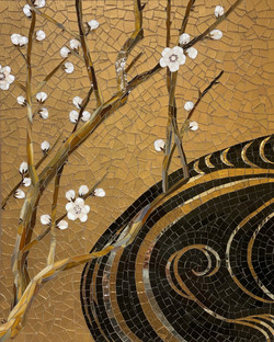 GRACIE - Wave & Blossom in Gold Glass Je
