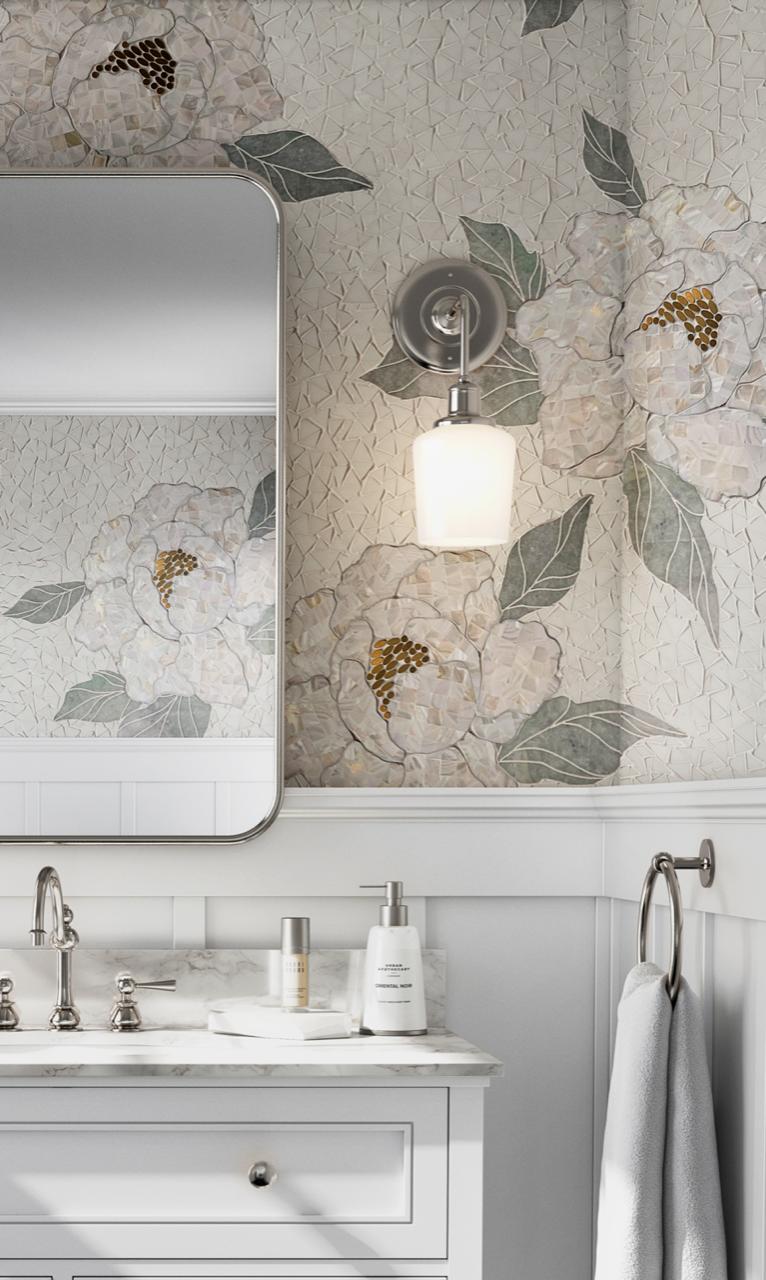 Flora Mosaic - Close up Bathroom Insatll