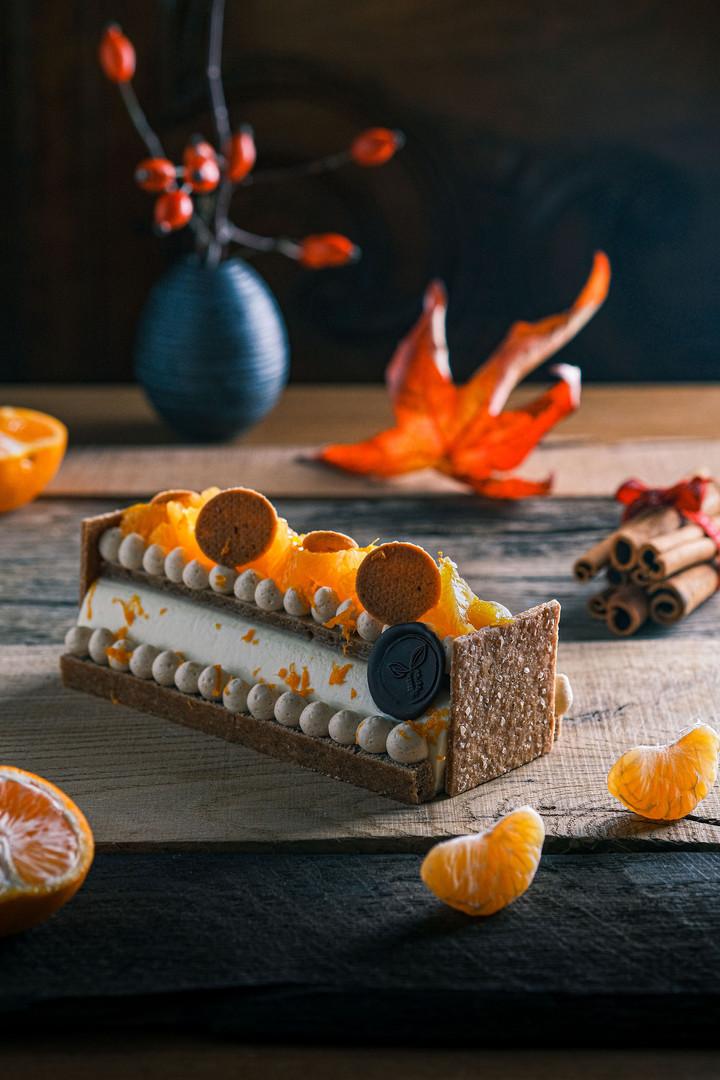 Bûche de Noël 2020 - Mandarine & pain d'épices