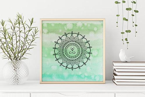 Elevate Mandala Green Print