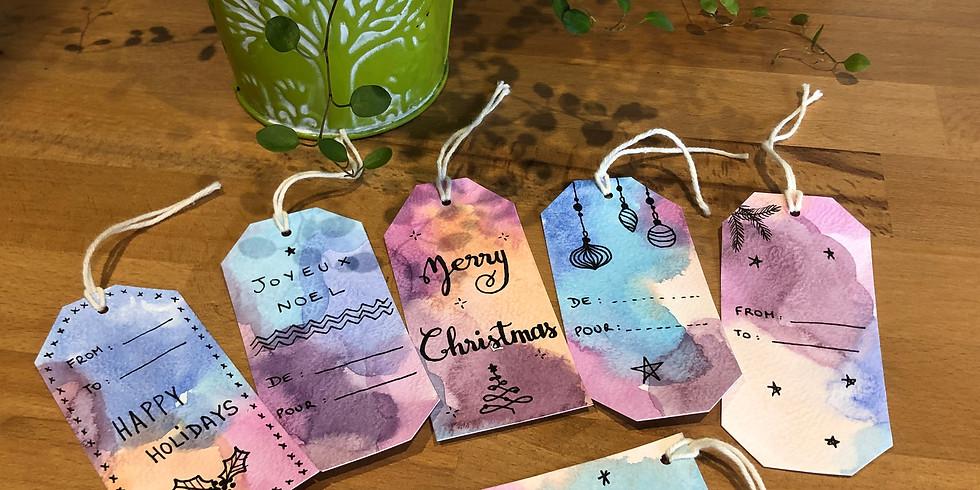 Cours d'aquarelle (dimanche) : création d'étiquettes cadeaux (1)