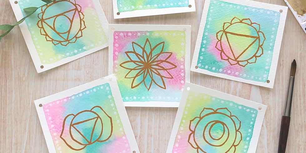 Création de cartes aquarelles Chakras
