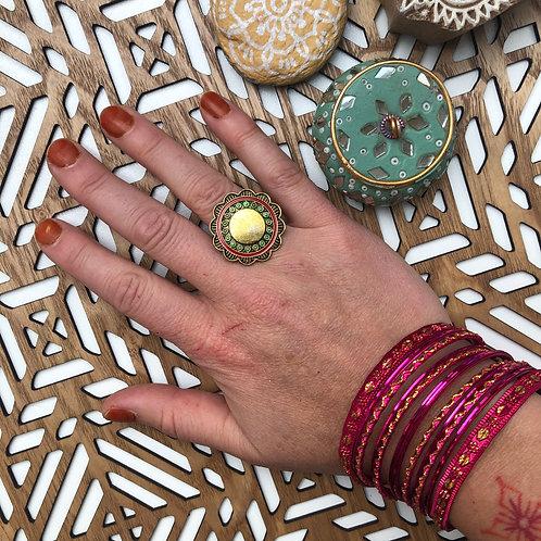 Grande Bague Mandala Dorée