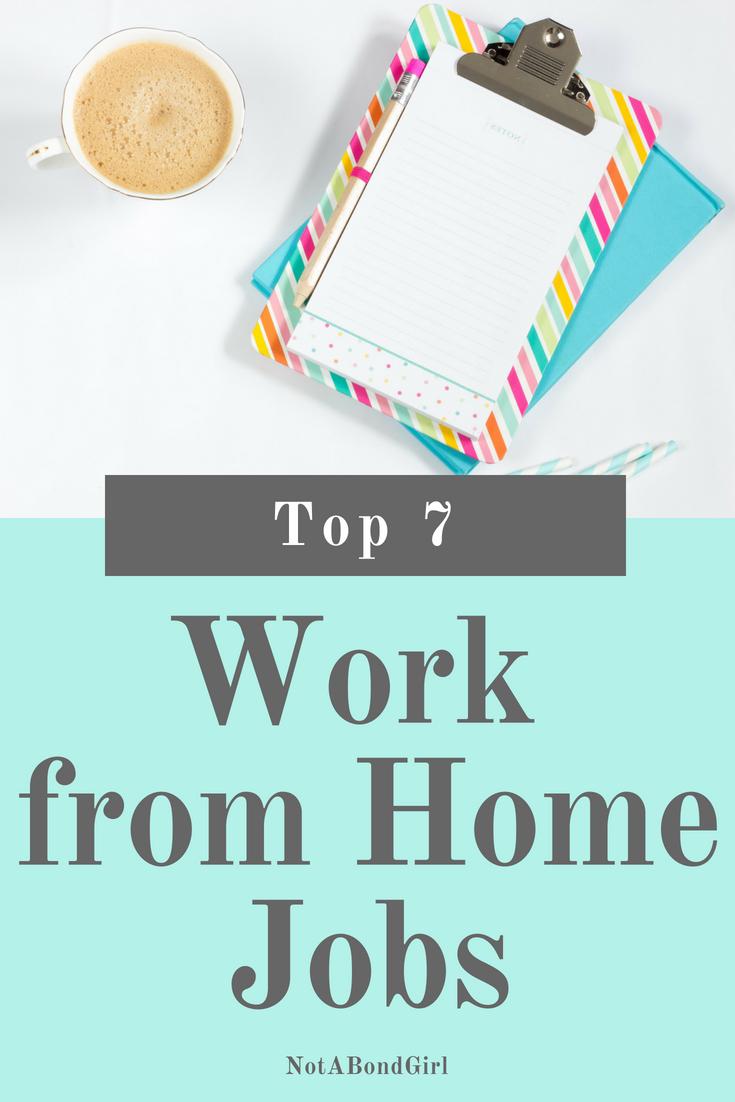 Top 7 Work from Home Jobs; top work from home jobs, remote work, virtual work, work online